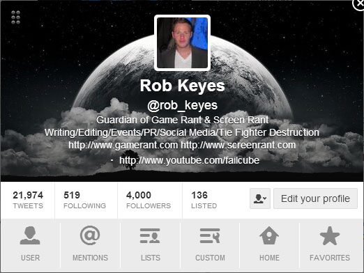 Rob Keyes 4000 Twitter Followers
